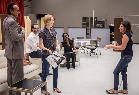 Members of 'Disgraced' cast share a light moment. From left, Bernard White, J. Anthony Cane, Nisi Sturgis and Zakiya Young with director Kimberly Senior. (Liz Lauren)