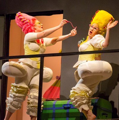 Diana Newman (Clorinda) and Annie Rosen (Tisbe) are into bright hair and buttresses in Rossini's 'Cinderella' in the Font-Guillén production at the Lyric Opera of Chicago. (Todd Rosenberg)