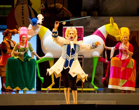 Disguised as the Prince, the servant Dandini (Vito Priante) makes a colorful entrance at the home of Don Magnifico. (Todd Rosenberg)