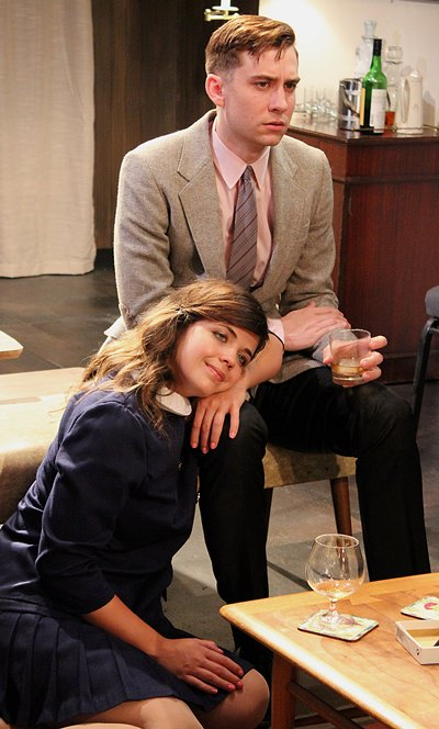 Honey (Eliabeth Argus) and Nick (Stephen Cefalu, Jr.) are over their heads in George and Martha's games. (Jan Ellen Graves)