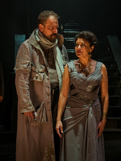 It's an uneasy reunion for the royal pair of Clytemnestra (Sandra Marquez) and Agamemnon (Mark L. Montgomery). (Michael Brosilow)