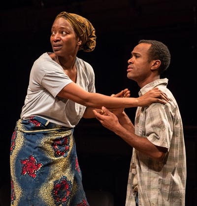 Lily Mojekwu, Charles Andrew Gardner as a mother and son in 'Objects in the Mirror' at New Stages.