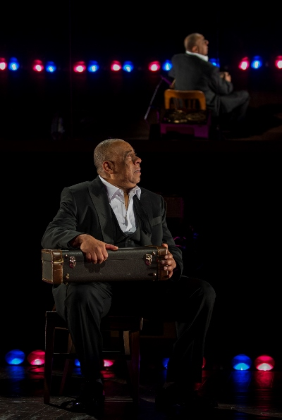 The great jazz trumpeter (Barry Shabaka Henley) secures his precious instrument. (Michael Brosilow)