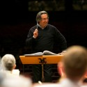 Maestro Riccardo Muti shares a laugh with the orchestra during a January rehearsal in Taipei (Todd Rosenberg)