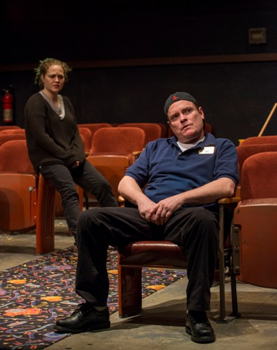 Sam (Danny McCarthy) blurts out his love for Rose (Caroline Neff) in Annie Baker's 'The Flick.' (Michael Brosilow)