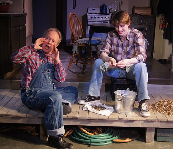 Angus (Brian Parry) joins in the story-telling with acting student Miles (Aaron Kirby). (Jan Ellen Graves)