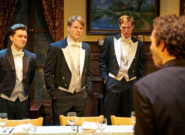 Members of the Riot Club (played by from left, Matthew Garry, Dash Barber, Michael Holding, Sean Wiberg) all dressed up to raise hell. (Lee Miller)