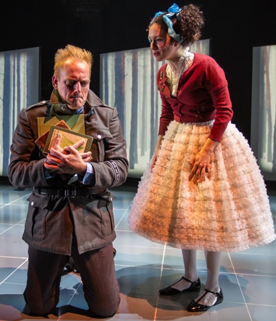 The brilliant but elusive Benno von Archimboldi (Mark L. Montgomery) ponders a request from his sister (Alejandra Escalante). (Liz Lauren)