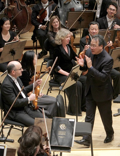 Cellist Yo-Yo Ma turned to applaud the Chicago Symphony. (Dan Rest)