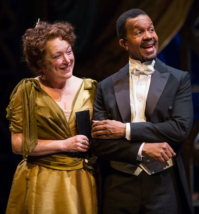 It takes some doing, but Dolly (Kristine Nielsen) finally lands Horace (Allen Gilmore). (Liz Lauren)