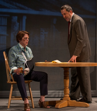 Her husband (Ian Barford) chides Mary Page Marlowe (Laura T. Fisher) for letting drink destroy her life. (Michael Brosilow)