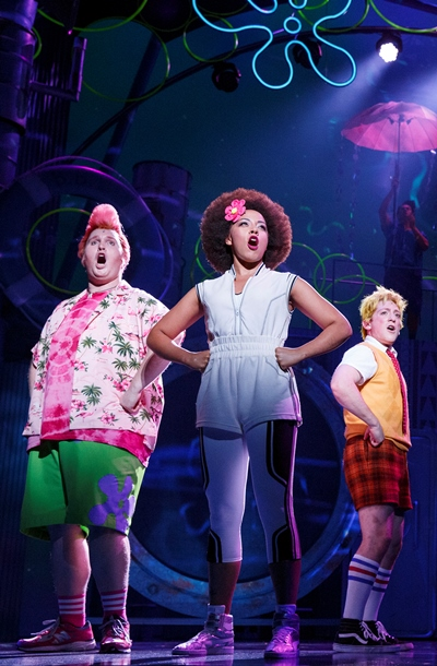 Amigos Patrick Star (Danny Skinner), Sandy Cheeks (Lilli Cooper) and SpongeBob (Ethan Slater). (Joan Marcus)