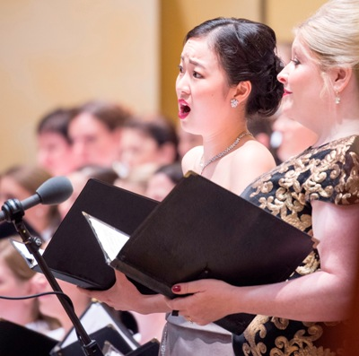 From right, Karen Cargill, Ying Fang and the CSO Chorus. (Russell Jenkins)