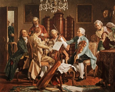 Haydn playing string quartets (anonymous) Wiener StaatsMuseum)