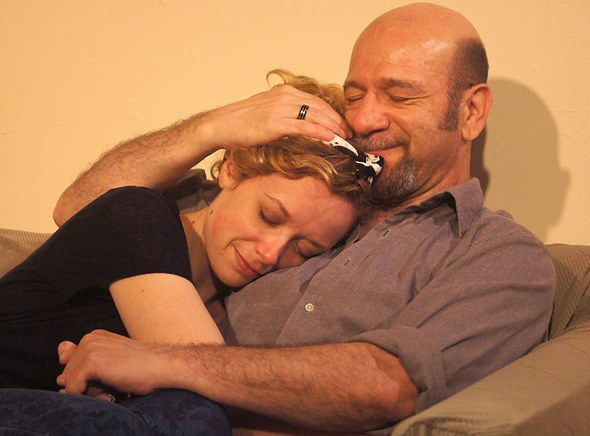 Mick (Adam Bitterman) comforts Maggie (Abby Dillion) in 'The Seedbed.' (Jan Ellen Graves)
