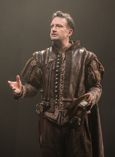 Bassanio (Dan Fredenburgh) must have money in his purse to woo Portia. (Marc Brenner)