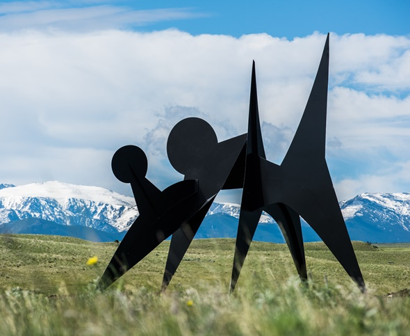 Sharply outline against the Beartooth Mountains, a Calder sculpture. (Erik Peterson)