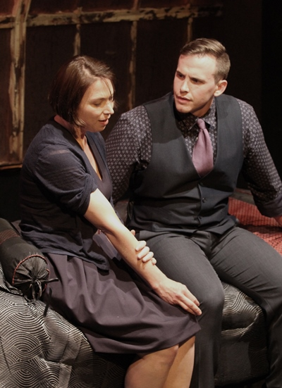 A woman with a past (Kendra Thulin) and a young man (Nick Horst) edge toward their purpose. (Gregg Gilman)