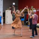 Lauren Molina (Eileen) rehearses some dance steps with the cast of 'Wonderful Town.' (Liz Lauren)