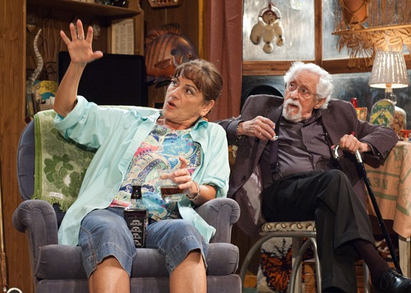 Maude (Janet Ulrich Brooks) and the scholarly Lionel (Mike Nussbaum) survey her possible art treasure. (Lara Goetsch)