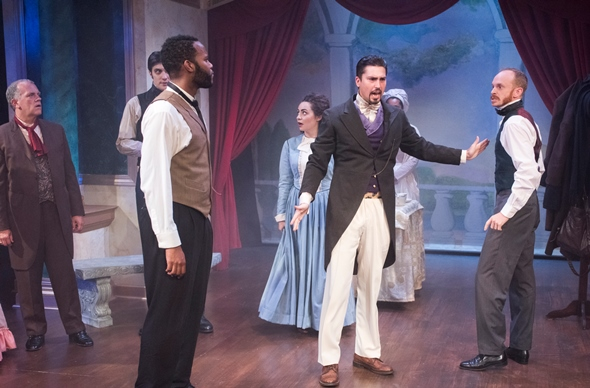 Everyone just calm down, the theater manager (Matthew Klingler, in tails) tells actors Ira Aldridge (Brandon Greenhouse, left) and Charles Kean (Tyler Rich). (Dean La Prairie)