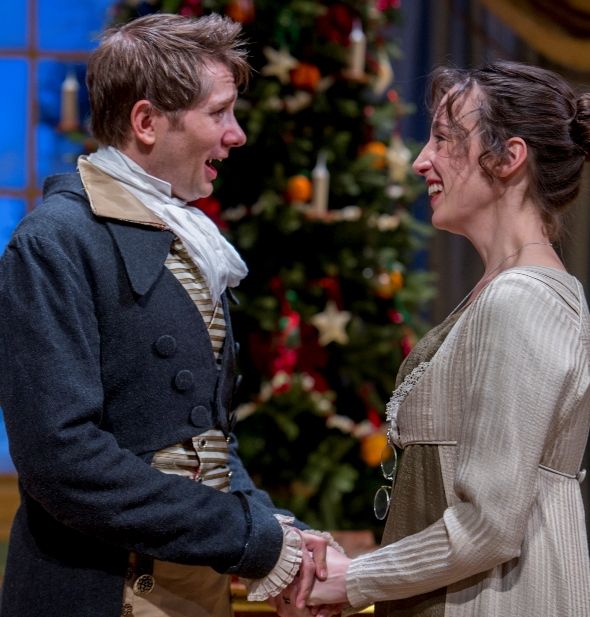 In a sequel to 'Pride and Prejudice,' bookish middle sister Mary Bennet (Emily Berman) has an admirer in shy Arthur de Bourgh (Erik Hellman). (Charles Osgood, Northlight)