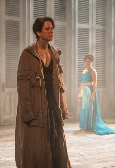 Her sorrow keeps Electra (Kate Fry) at a distance from her mother Clytemnestra (Sandra Marquez). (Michael Brosilow)