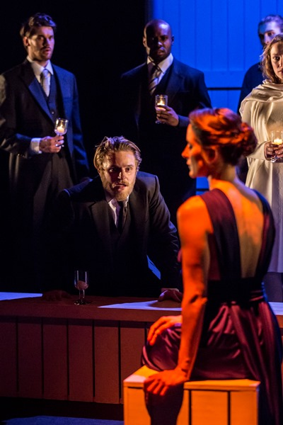 An amazed Leontes (Orlando James) sees his wife Hermione (Natalie Radmall-Quirke) in a startling new light. (Johan Persson)