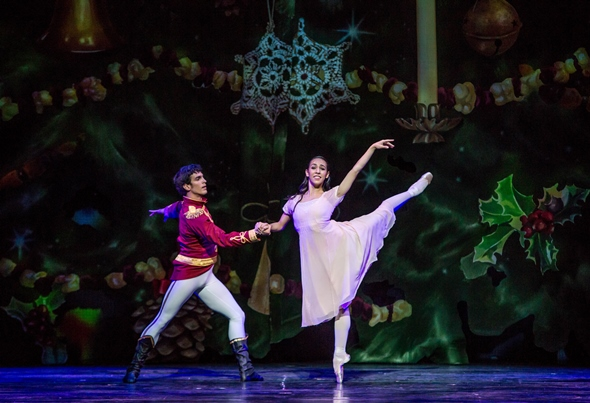 Amanda Assucena and Alberto Velazquez as Marie and the Nutcracker Prince. Various Joffrey dancers cycle through the principal roles. (Cheryl Mann)