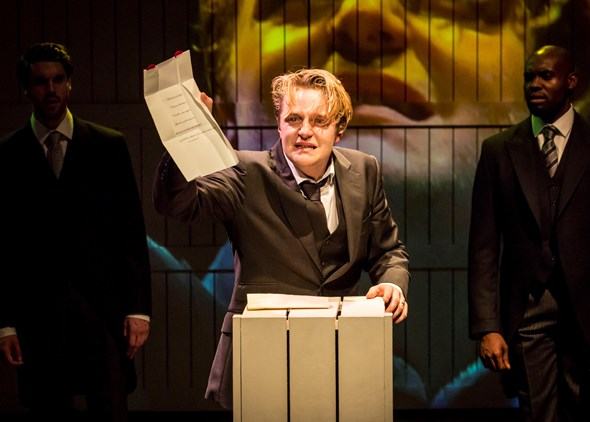 King Leontes (Orlando James) pronounces his wife guilty of high treason by adultery. (Johan Persson)