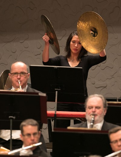 CSO percussionist Cynthia Yeh punctuates Tchaikovsky's Fourth Symphony. (Todd Rosenberg)