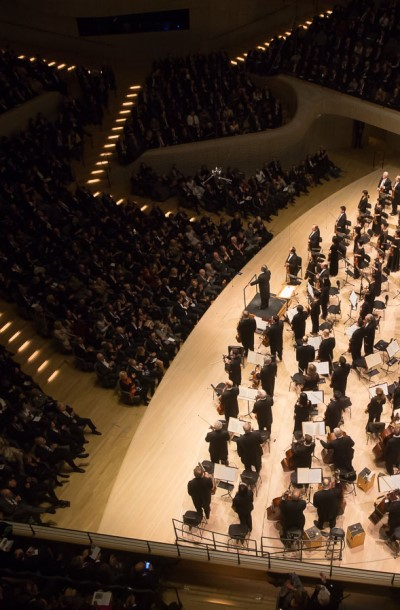 "Riccardo Muti and the CSO accept applause for their ""Don Juan"" at the Hamburg Elbphilharmonie. (Todd Rosenberg)"
