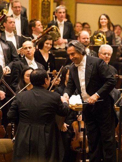 Conductor Riccardo Muti and CSO concertmaster Robert Chen shared a triumph at the Musikverein. (Todd Rosenberg)