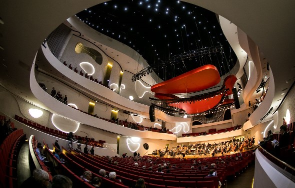 The interior of the Musikkens Hus is a swirl of curves. (Todd Rosenberg)