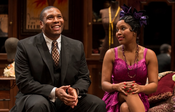 Leland (Geno Walker) is delighted to make the acquaintance of gorgeous Angel (Toya Turner). (Michael Brosilow)
