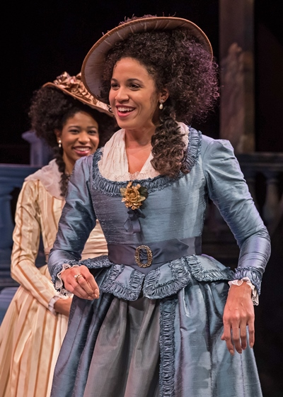 The French Princess (Jennie Greenberry, front) and her attendant (Jennifer Latimore) are amused by their amorous reception. (Liz Lauren)