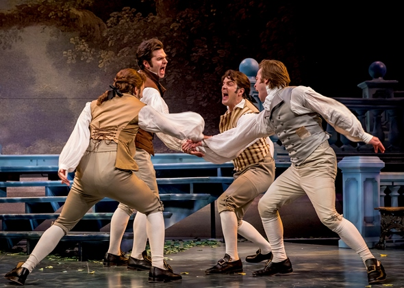 The royal lads -- played by (from left) Madison Niederhauser, Nate Burger, John Tufts and Julian Hester -- celebrate their plan to win the French ladies. (Liz Lauren)