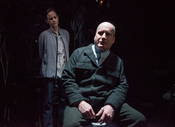 Sims (Guy Van Swearingen) is grilled by Detective Morris (Ashley Neal) in 'The Nether.' (Michael Brosilow)