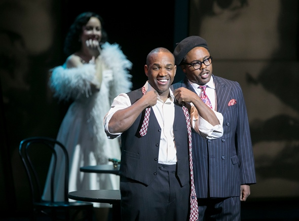 Charlie Parker (Lawrence Brownlee) lights up when Dizzy (Will Liverman) tells him Chan (Rachel Sterrenberg) has arrived. (Todd Rosenberg)