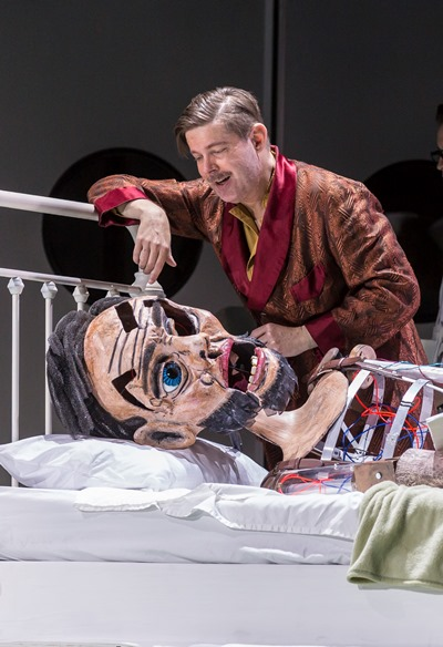 """Even a puppet likeness of Abraham Lincoln shows up with Disney (Justin Ryan) in """"The Perfect American."""" (Liz Lauren)"""