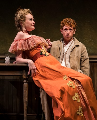 With lady-for-hire Belle (Amanda Drinkall) on his lap, young, self-assured Richard (Niall Cunningham) is no longer sure about anything. (Liz Lauren)