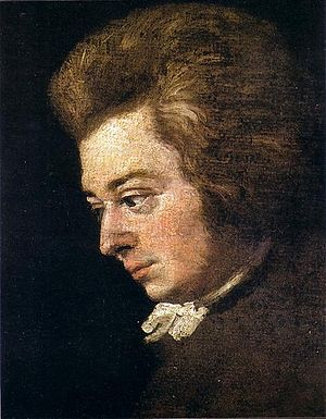 Unfinished portrait of Mozart by Joseph Lange, husband of Aloysia Weber, the composer's early heartthrob.