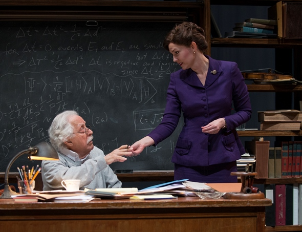 Albert Einstein (Mike Nussbaum) agrees to be interviewed by a zealous reporter (Katherine Keberlein) in 'Relativity.' (Michael Brosilow)