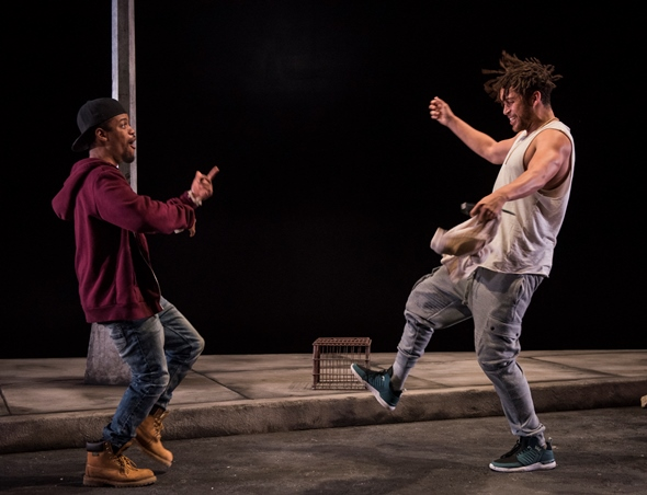 Bleak as the prospects may be, Moses (John Michael Hill, left) and Kitch (Julian Parker) are still up for dancing in the street. (Michael Brosilow)