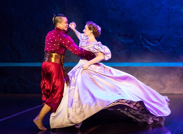 "The King (Jose Llana) and Anna (Laura Michelle Kelly) whirl about the stage in ""Shall We Dance?"""