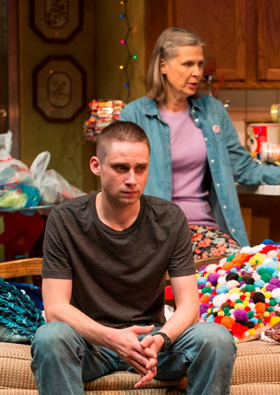 Ex-Marine Isaac (Ty Olwin) is thunderstruck by the mess Mom (Amy Morton) has wrought. (Michael Brosilow)