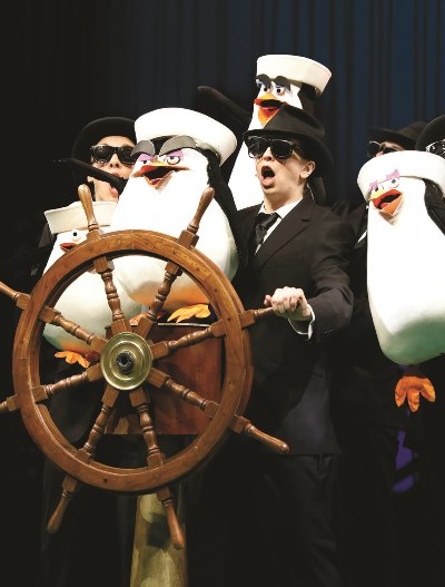 Puppet penguins are on board in the high-energy musical 'Madagascar.' (Liz Lauren)