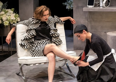 Not play-acting now, Claire (Melisa Pereyra) adjusts a shoe for an impatient Madame (Rebecca Hurd). (Liz Lauren)