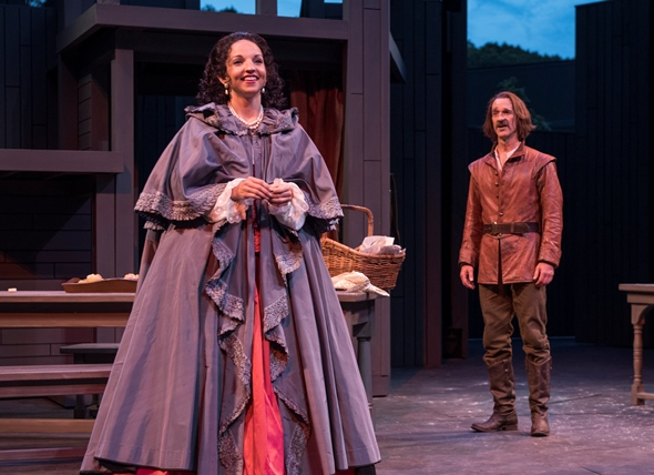 Roxane (Laura Rook) seems just out of reach to the smitten Cyrano (James Ridge). (Michael Brosilow)