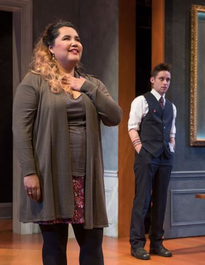 While Madeline Rodriguez) is thrilled by the Rembrandt, Dodger (Ty Olwin) take a more jaded view. (Michael Brosilow)